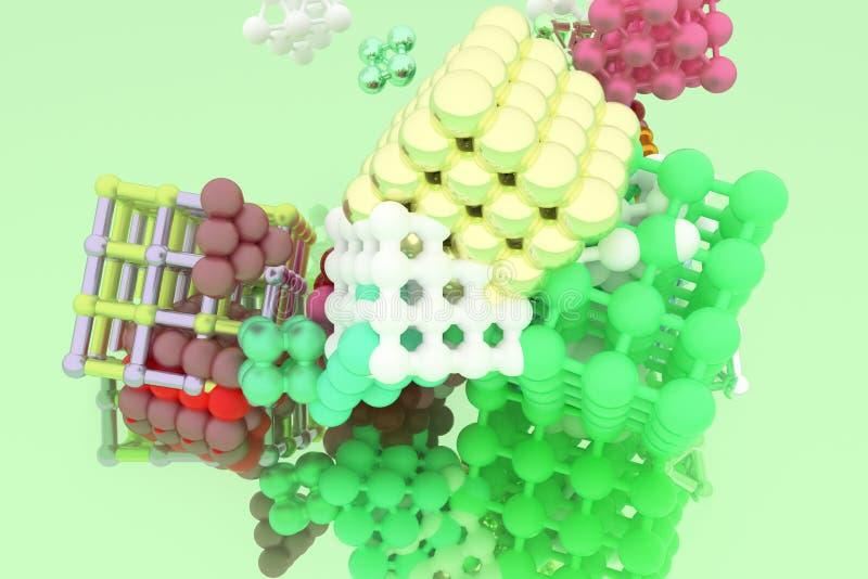 Quadrado ou pirâmides bloqueadas concepture do estilo da molécula Para o projeto gráfico ou o fundo, geométrico virtual 3d rendem ilustração do vetor