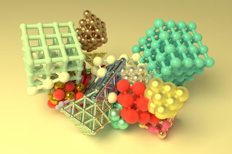Quadrado ou pirâmides bloqueadas concepture do estilo da molécula Para o projeto gráfico ou o fundo, geométrico virtual 3d rendem ilustração royalty free