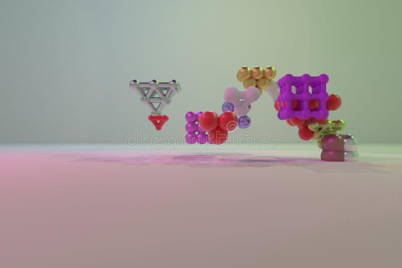 Quadrado ou pirâmides bloqueadas concepture virtuais geométricas do sumário, da molécula do estilo Papel de parede para o projeto ilustração stock