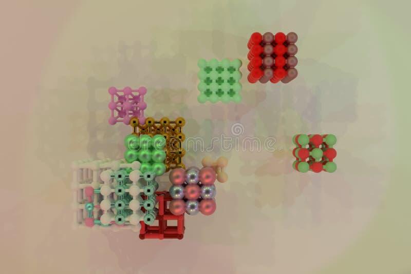 Quadrado ou pirâmides bloqueadas concepture virtuais geométricas do sumário, da molécula do estilo Papel de parede para o projeto ilustração royalty free