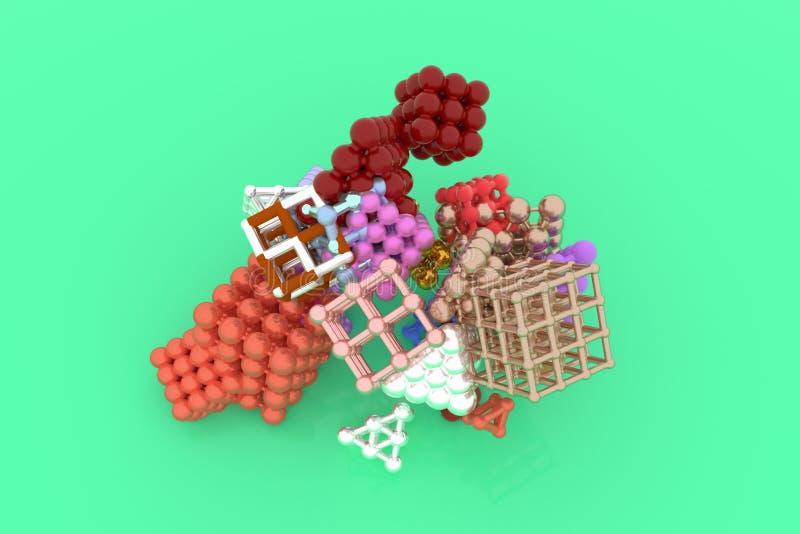 Quadrado ou pirâmides bloqueadas concepture virtuais geométricas do sumário, da molécula do estilo Papel de parede para o projeto ilustração do vetor