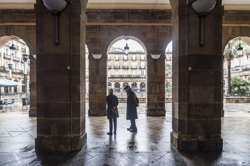 Quadrado, plaza Nueva ou plaza nova Barria, quadrado monumental, neoc fotos de stock