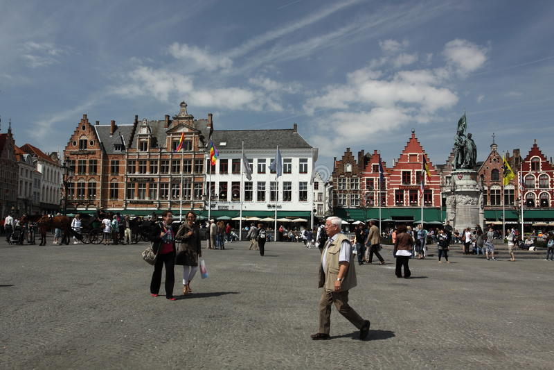 Quadrado principal de Bruges fotos de stock royalty free
