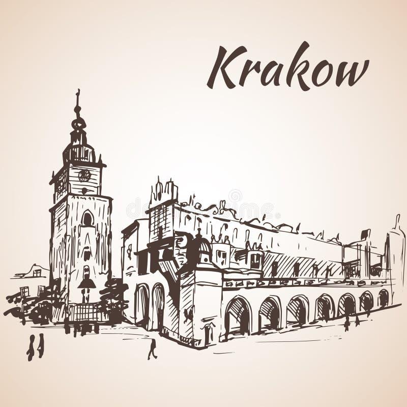 Quadrado principal, Krakow, Polônia esboço ilustração royalty free