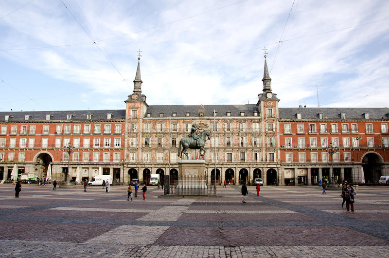 Quadrado principal, Madri, Espanha imagem de stock