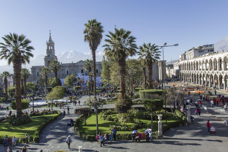 Quadrado principal & x22; Plaza de Armas& x22; em Arequipa, Peru imagens de stock