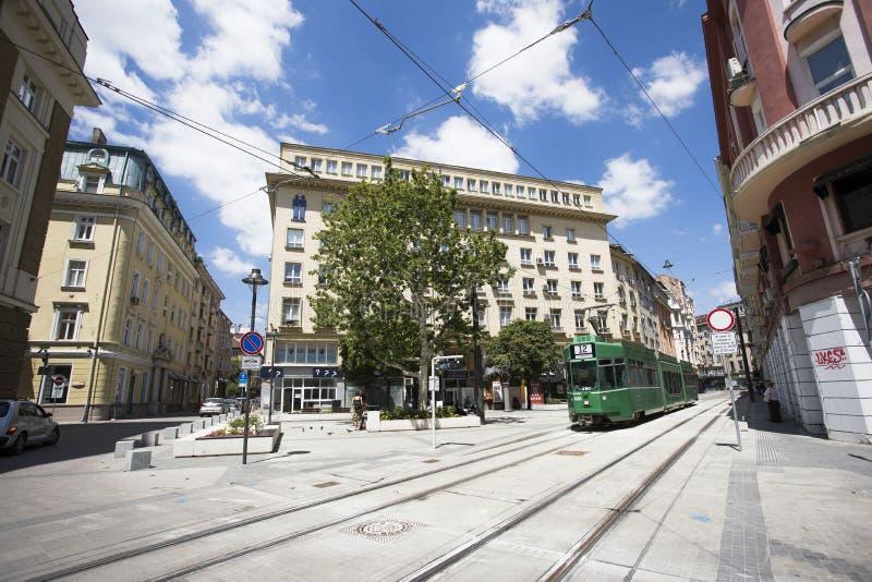 Quadrado renovado 'de Garibaldi 'na baixa de Sófia, Bulgária fotos de stock royalty free