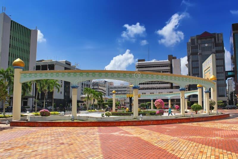 Quadrado velho em Brunei Darussalam no por do sol Ásia foto de stock royalty free