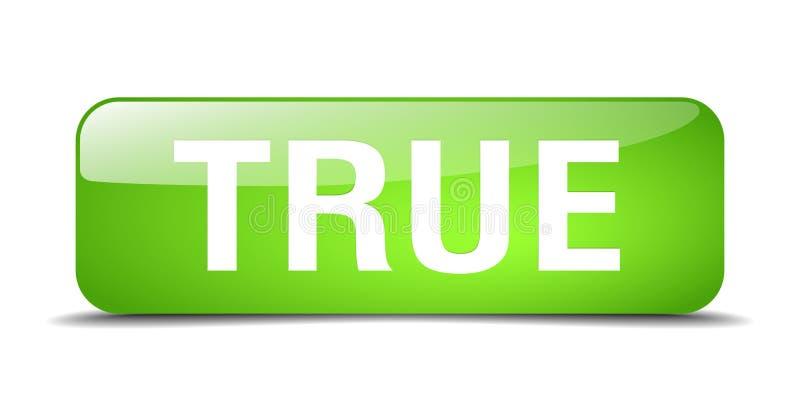 quadrado verde verdadeiro botão isolado da Web ilustração royalty free