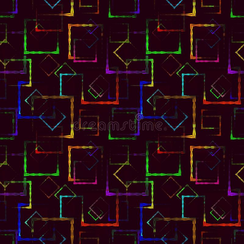 Quadrados cinzelados coloridos brilhantes e rombos de néon para um fundo ou um teste padrão abstrato de Borgonha ilustração stock