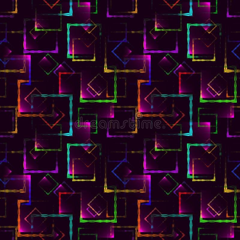 Quadrados cinzelados coloridos brilhantes e rombos de néon para um fundo ou um teste padrão abstrato do mirtilo ilustração do vetor