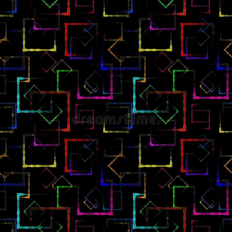 Quadrados cinzelados coloridos brilhantes e rombos de néon para um fundo ou um teste padrão preto abstrato ilustração royalty free