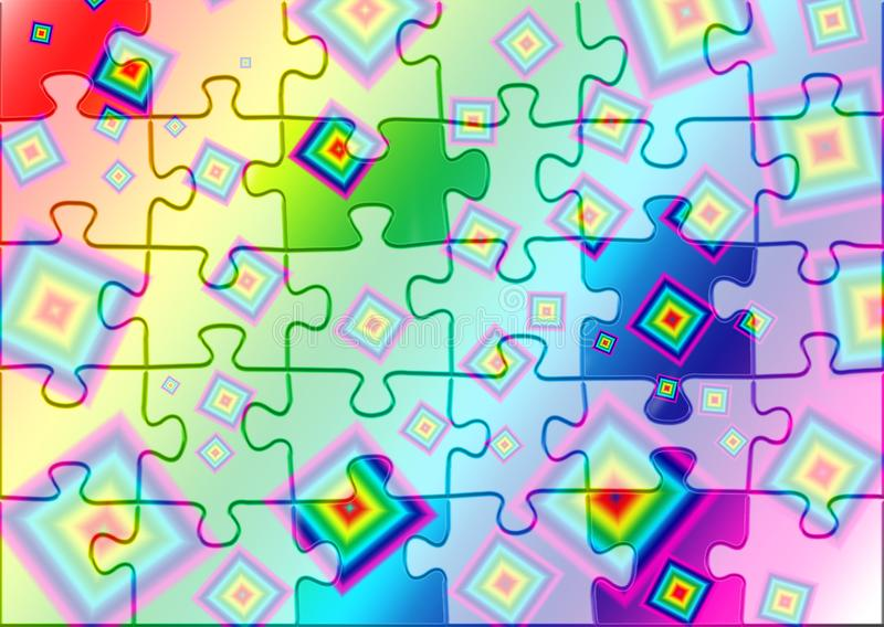 Quadrados coloridos brilhantes em um fundo do arco-íris, cores de contraste ilustração stock