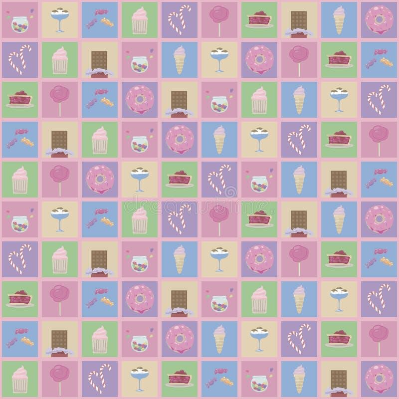 Quadrados coloridos com os desenhos de doces bonitos: o gelado, os anéis de espuma e os queques picam o teste padrão sem emenda d ilustração do vetor