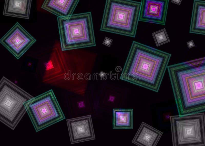 Quadrados coloridos em um fundo escuro imagens de stock