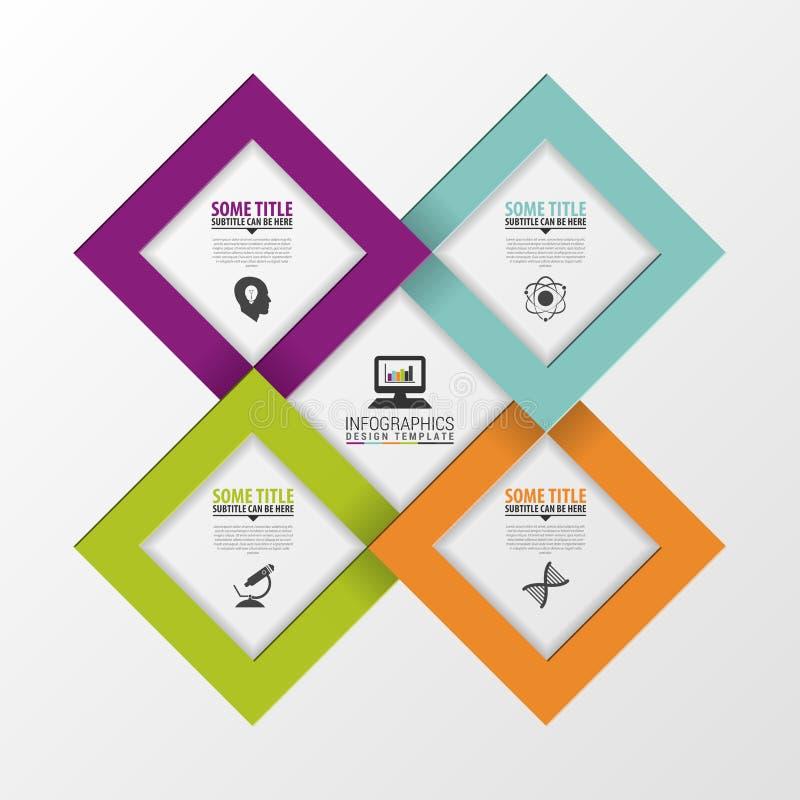 Quadrados de papel Molde moderno do projeto do vetor Infographics Ilustração do vetor ilustração stock