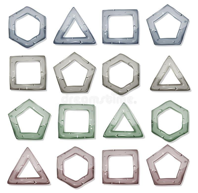 Quadrados de pedra, triângulos e outras formas ajustados ilustração do vetor