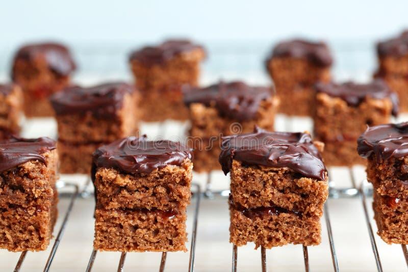 Quadrados do bolo de chocolate em uma cremalheira refrigerando fotografia de stock