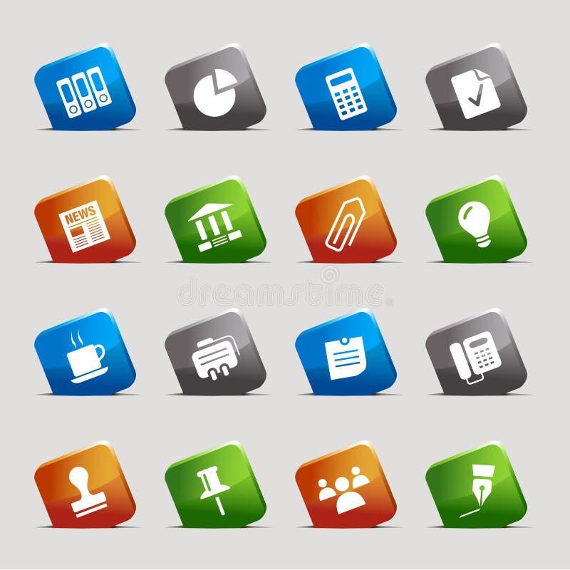 Quadrados do corte - ícones do escritório e do negócio ilustração royalty free