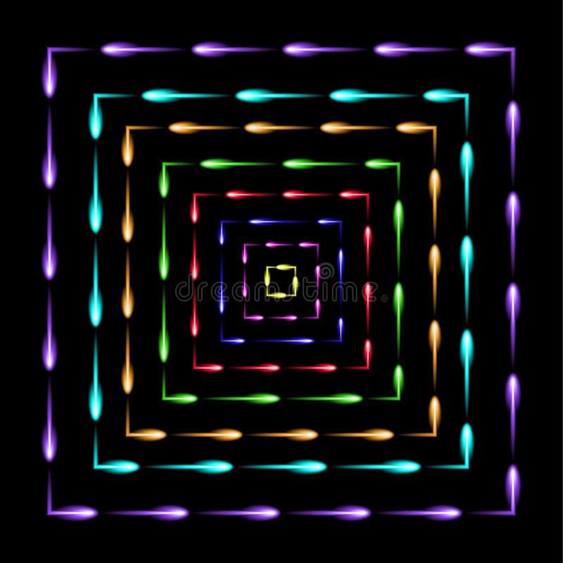 Quadrados nos quadrados que voam o fundo do sumário dos vaga-lume ilustração do vetor