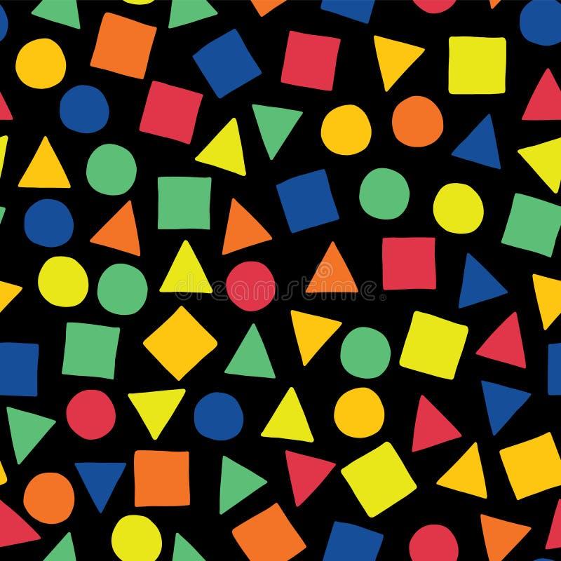 Quadrados, triângulos, e círculos dispersados em azul, em alaranjado, em vermelho, em verde, e em amarelo em um fundo preto As fo ilustração do vetor