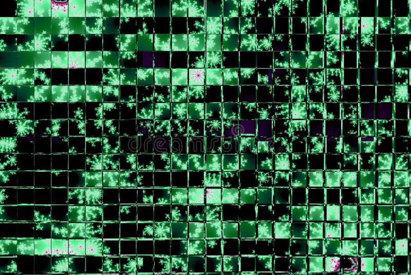 Quadrados verdes no teste padrão de mosaico preto do fundo ilustração stock