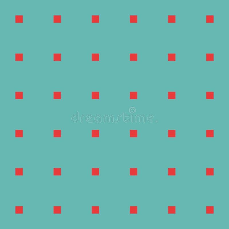 Quadrados vermelhos no teste padrão sem emenda do vetor do fundo verde fotografia de stock royalty free