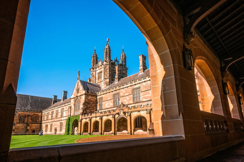 Quadrangle -Courtyard of main historic buildings at Sydney University. Sydney University Quadrangle is probably one of the most significant Gothic Revival royalty free stock photography