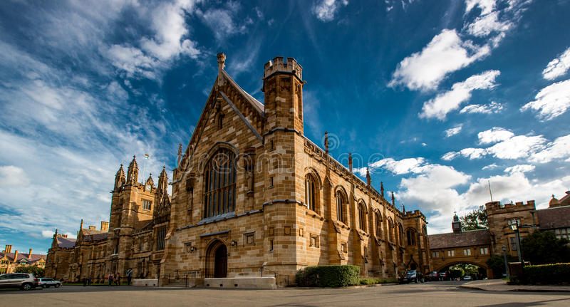 The Quadrangle. Is the most famous building at the campus of Universuty of Sydney stock image