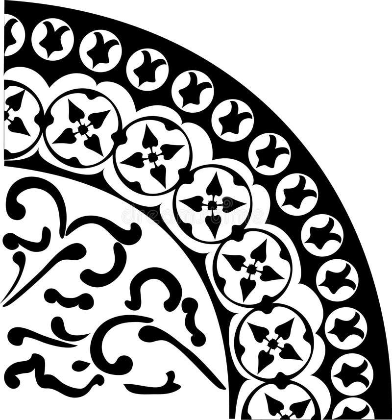 Quadrant ornament in black vector illustration