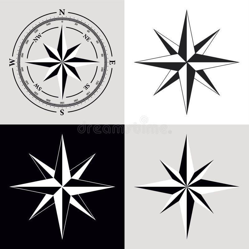 Quadrante Compas e Rosa di vento illustrazione di stock