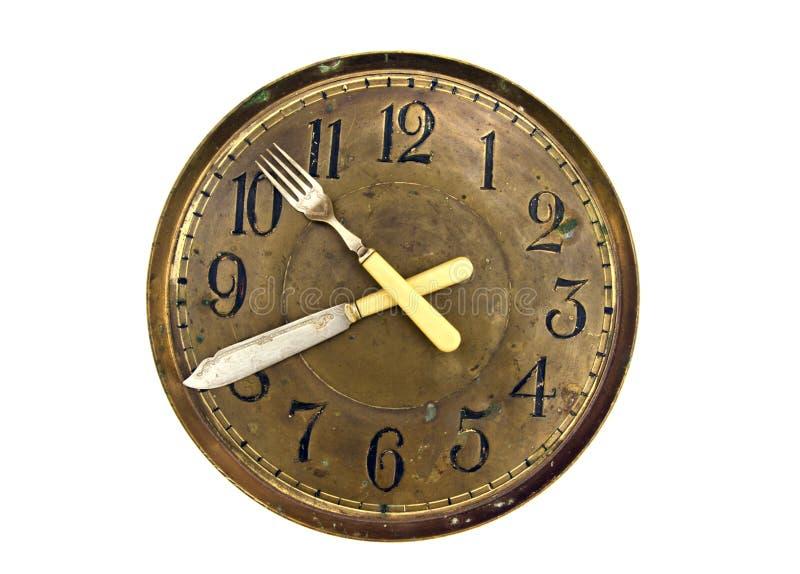 Quadrante del tempo del fronte di orologio del pranzo della cena vecchio con le frecce del coltello e della forcella immagini stock libere da diritti