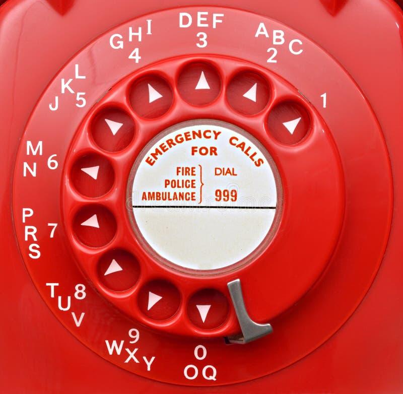 Quadrante di telefono rotatorio rosso fotografia stock