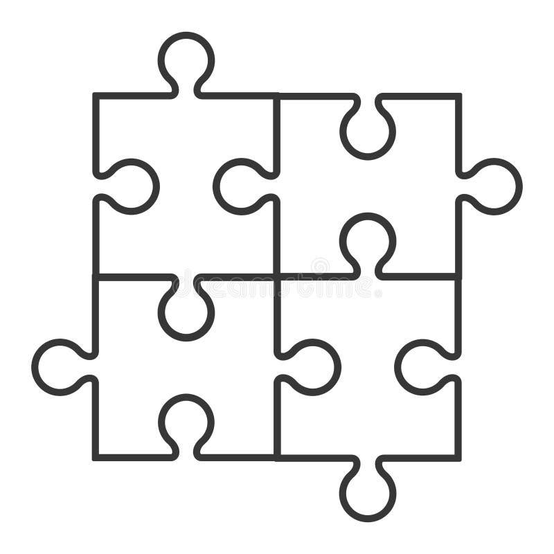 Quadrat in der Ikone mit vier Puzzlespielstücken vektor abbildung