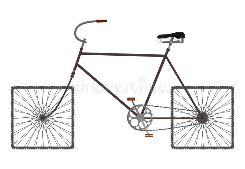 Quadrat dreht Fahrrad. lizenzfreie abbildung