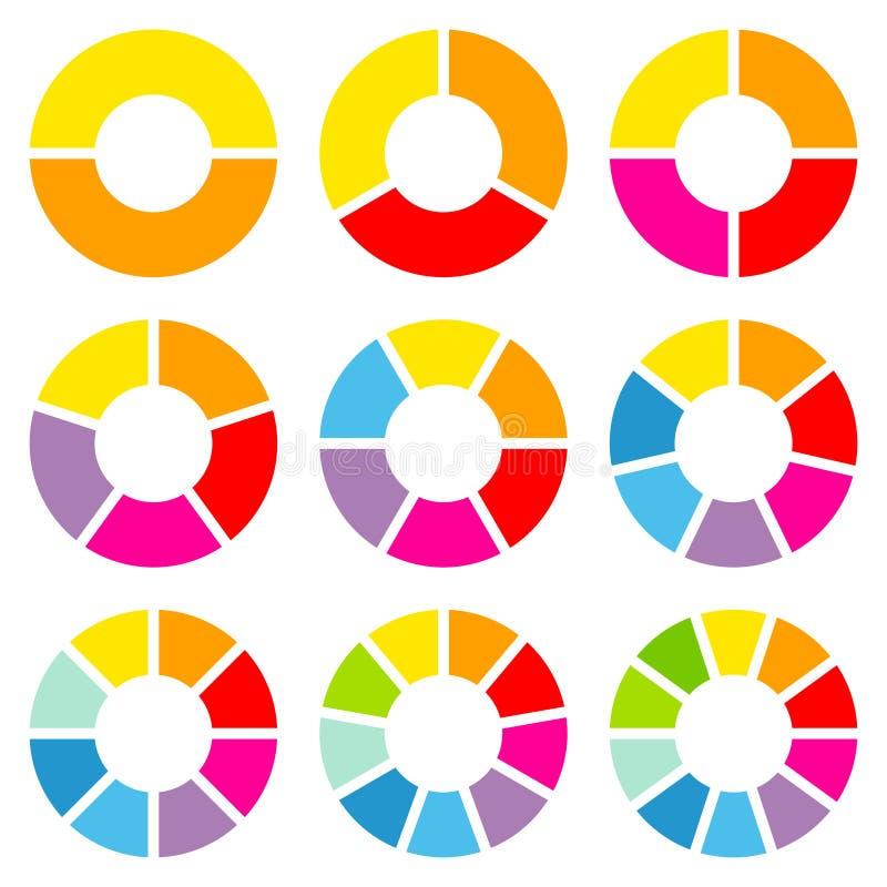 Quadrat eingestellt neun von der runden unterschiedlichen Kreisdiagramm-Regenbogen-Farbe stock abbildung