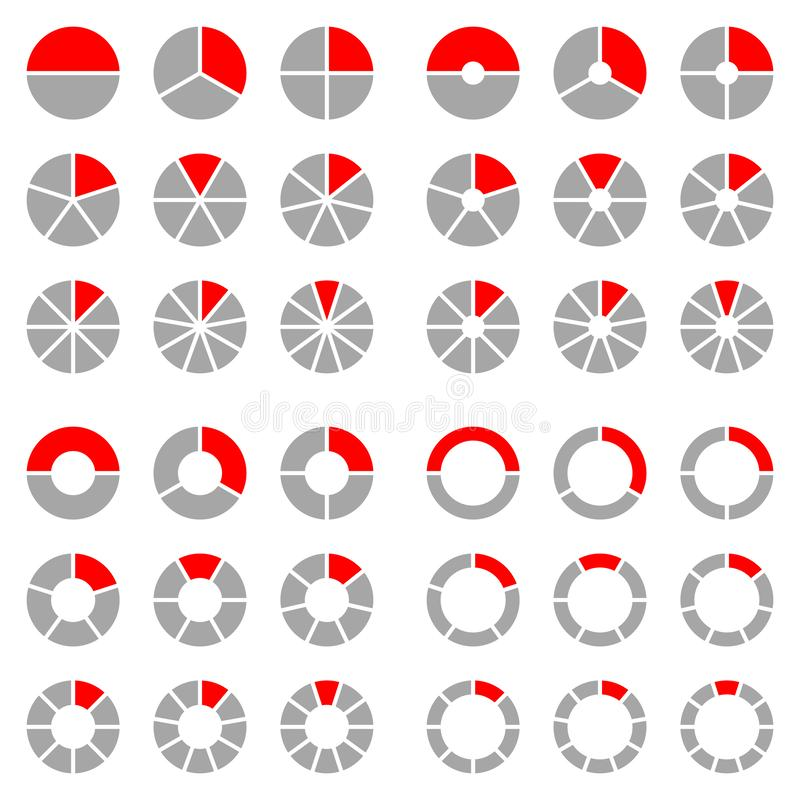 Quadrat eingestellt von den verschiedenen runden grafischen Kreisdiagrammen rot und grau stock abbildung