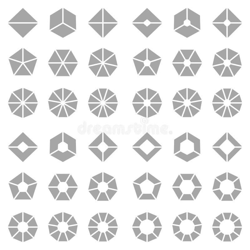 Quadrat eingestellt von unterschiedlichem Gray Angled Pie Charts vektor abbildung