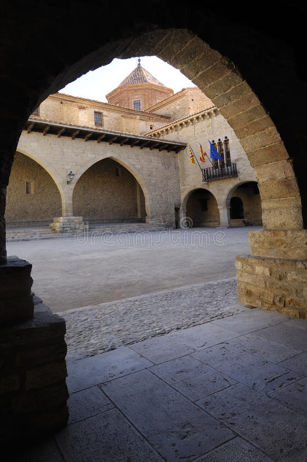 Quadrat EL Cristo Rey, Cantavieja, Maestrazgo, Teruel-Provinz, Aragonien, Spanien stockfotografie