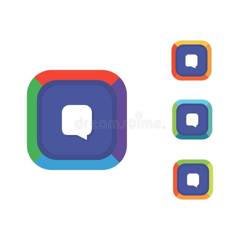 Quadrat gerundetes Chat-Logo lizenzfreie abbildung