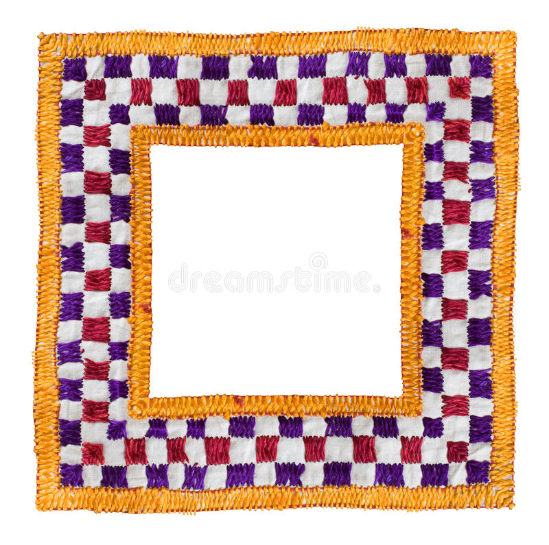 Quadrat getrennter Textilrand stockbild