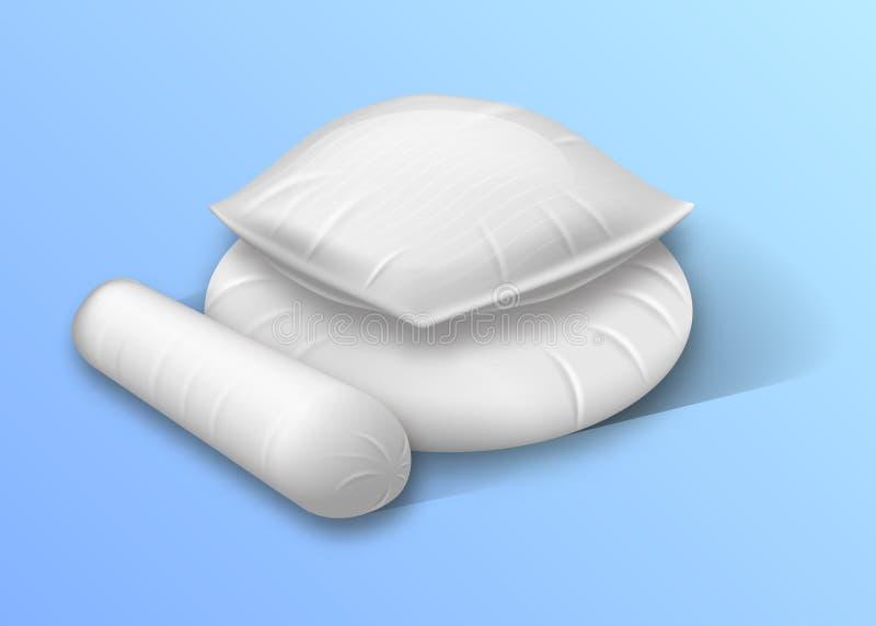 Quadrat-, Runden-und Rollenzylinder formte Bett-Kissen stock abbildung