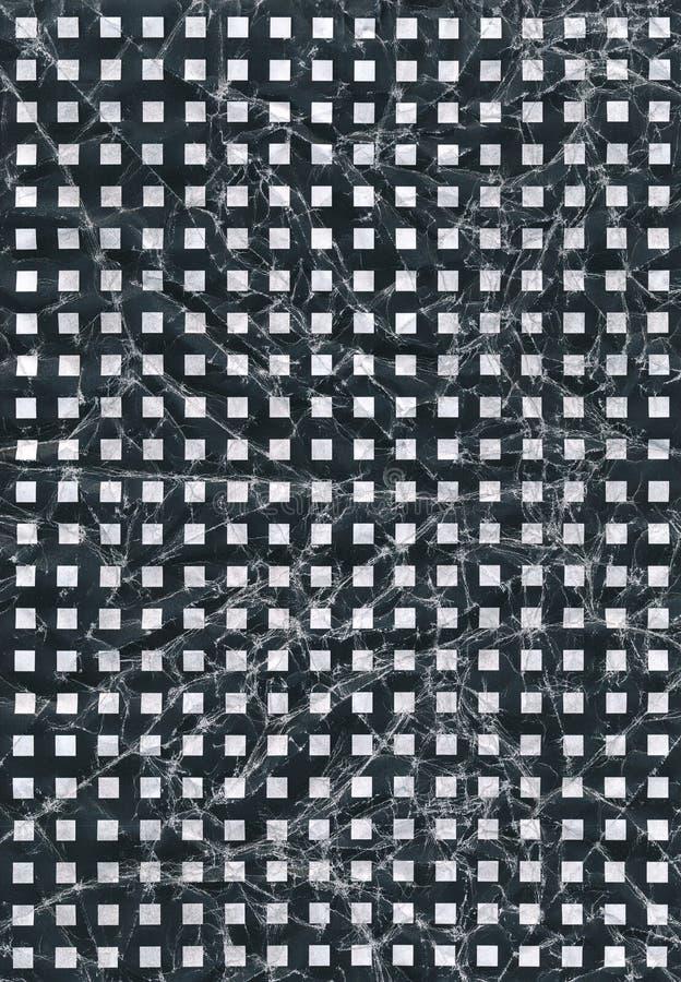 Quadrat scannte das schwarze Muster, das zerknittert wurden oder den gescannten schwarzen zerknitterten Hintergrund lizenzfreie abbildung