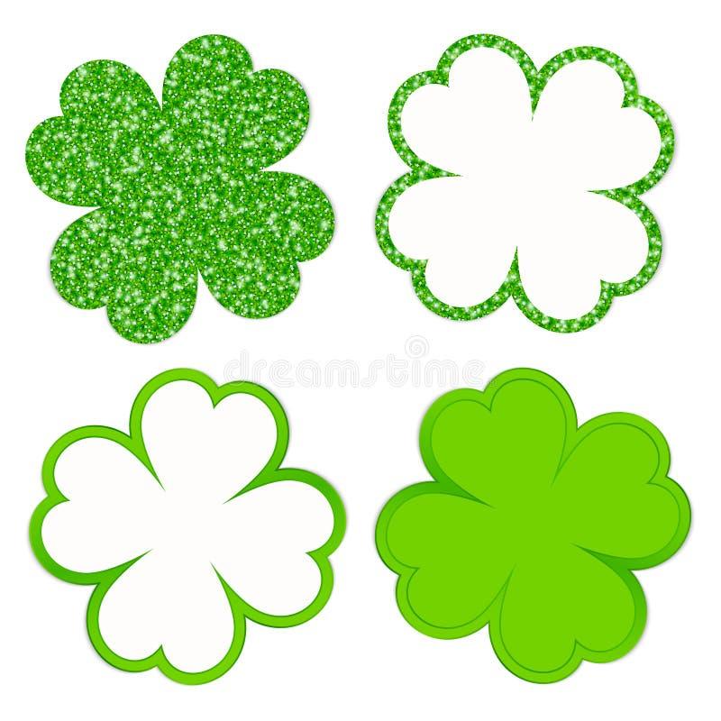 Quadrat stellte von vier funkelnden Klee-Blättern und von glänzendem Grün ein lizenzfreie abbildung