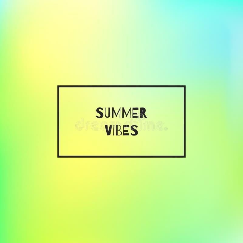 Quadrat unscharfer Hintergrund mit Rahmen und Text Sommer-Schwingungen vektor abbildung