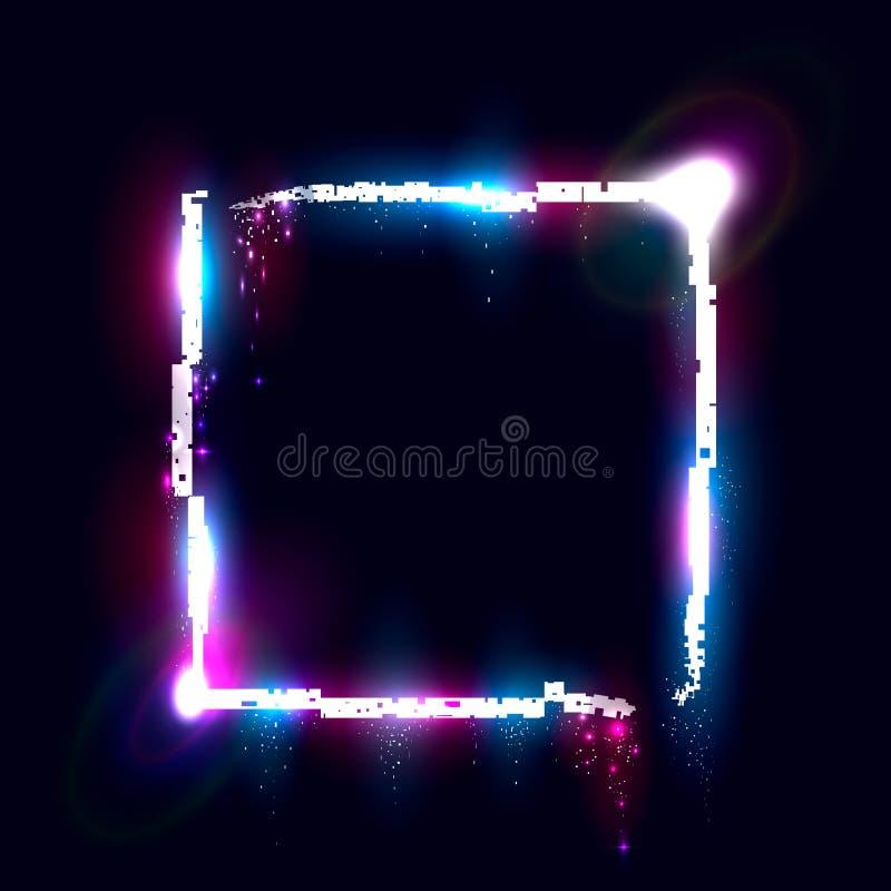 Quadrate de desmoronamento iluminado, elemento do projeto para a bandeira, inseto, cartão, cartaz ilustração do vetor
