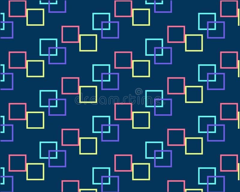Quadrate von den verschiedenen Farben wiederholt auf einem dunklen Hintergrund stock abbildung