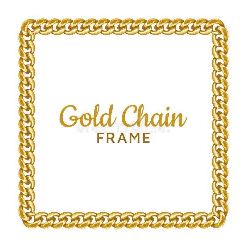 Quadratgrenzrahmen der goldenen Kette Rechteckkranzform Schmuckdesign, Textrahmen vektor abbildung