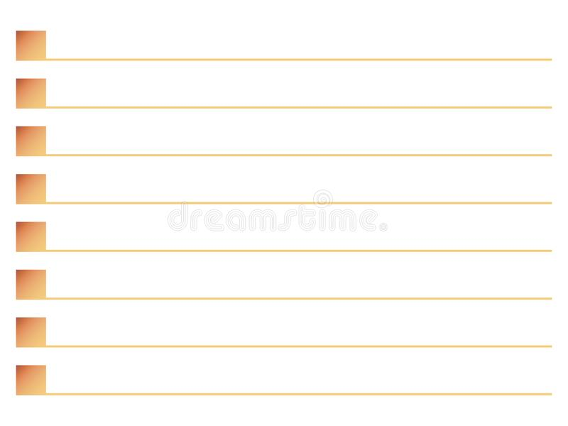 Quadrati arancio con la linea linea linea vettore della lista identificata dell'ombra di sequenza della nota isolati su fondo bia illustrazione vettoriale