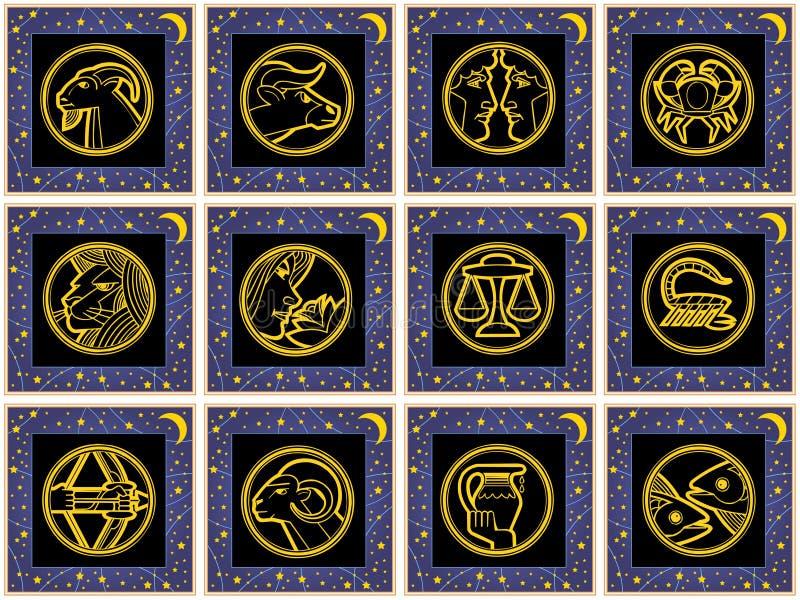 Quadrati blu con i segni dello zodiaco illustrazione vettoriale